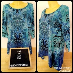 LIVE AND LET LIVE Blue Paisley Lace Detail Tunic